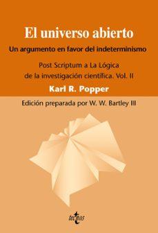 el universo abierto: un argumento a favor del indeterminismo. pos t scriptum a la logica de la investigacion cientifica. vol. ii (3ª ed.)-karl r. popper-9788430950829