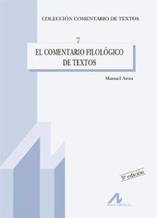 el comentario filologico de textos-manuel ariza viguera-9788476353349