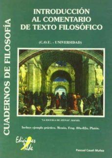 introduccion al comentario de texto filosofico (cou-universidad)-9788492200979