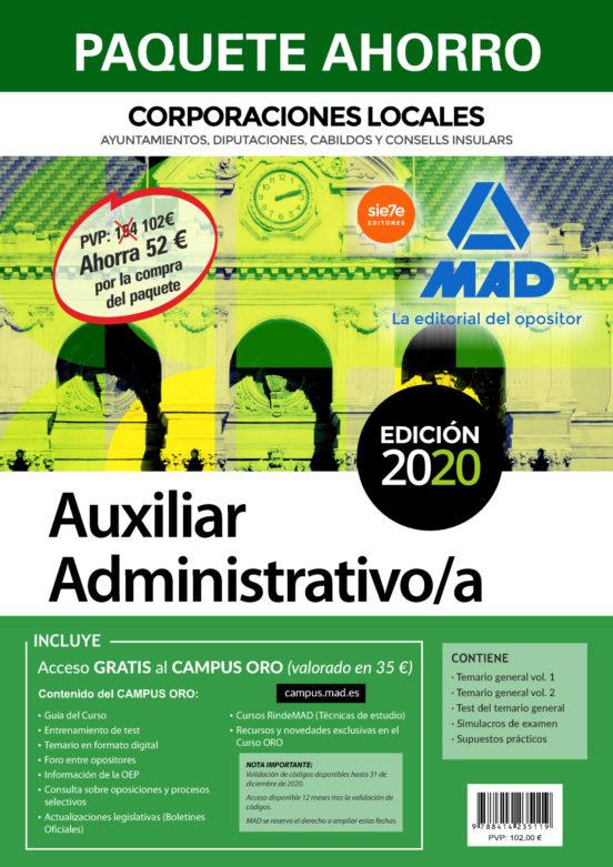 PAQUETE AHORRO AUXILIAR ADMINISTRATIVO DE CORPORACIONES LOCALES.