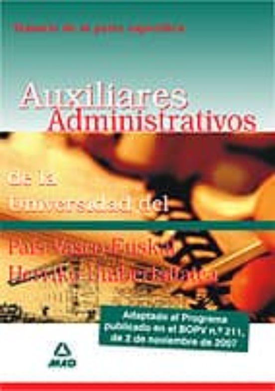 TEMARIO PARTE ESPECIFICA DE LOS AUXILIARES ADMINISTRATIVOS DE LA UNIVERSIDAD DEL PAIS VASCO
